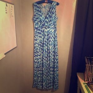 Blue and White Watercolor Michael Kors Maxi Dress